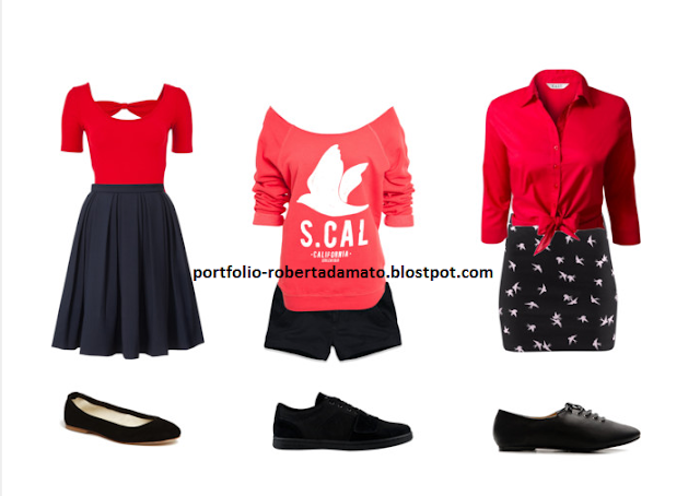 Look do Dia 23 Blusas Vermelhas Camisas Saias Shorts Tenis Sapatilha e Oxford