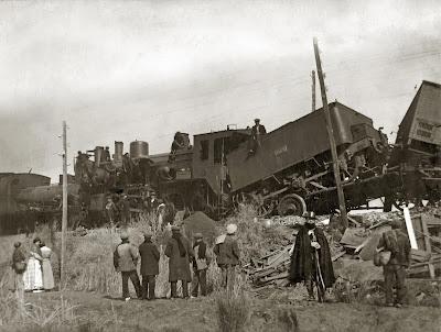 Foto del chocque de trenes en Binéfar