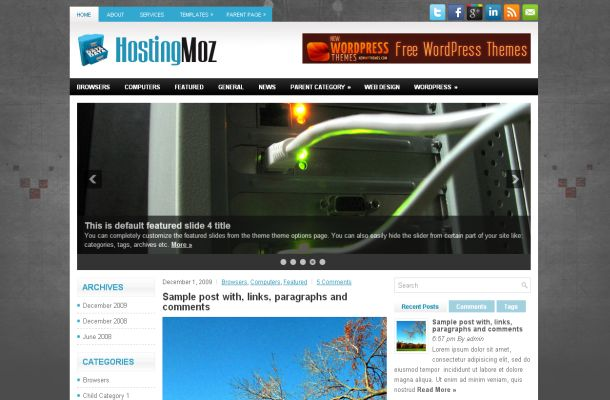 Free Web Hosting Grey Wordpress Theme Template