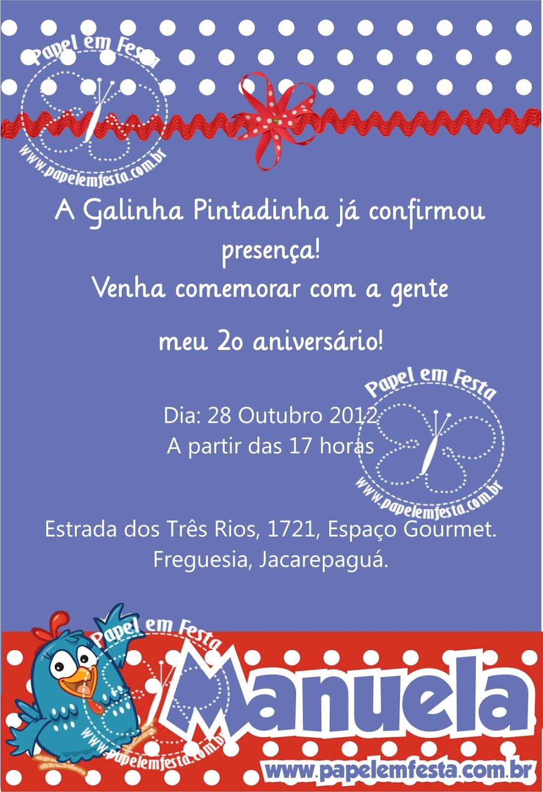 Convite Galinha Pintadinha   Manuela