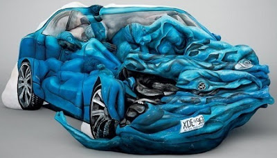 Amazing Car sculpture Made with Human Body Tattoo