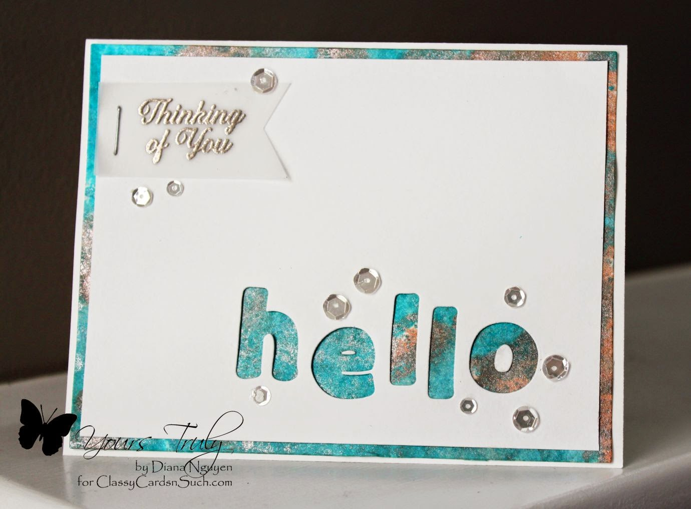 Diana Nguyen, Our Daily Bread Designs, hello card, negative die cutting