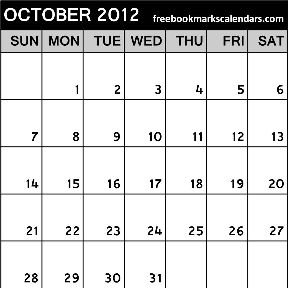 Free Printable October 2014 Calendar Template