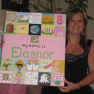 Pink and Green Baby Shower Gift Painting