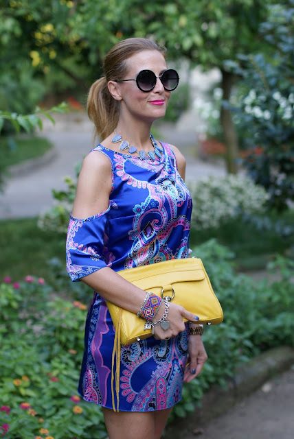 satin mini dress, Rebecca Minkoff yellow bag, paisley dress, Fashion and Cookies, fashion blogger