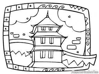 Mewarnai Gambar Kuil Umat Budha