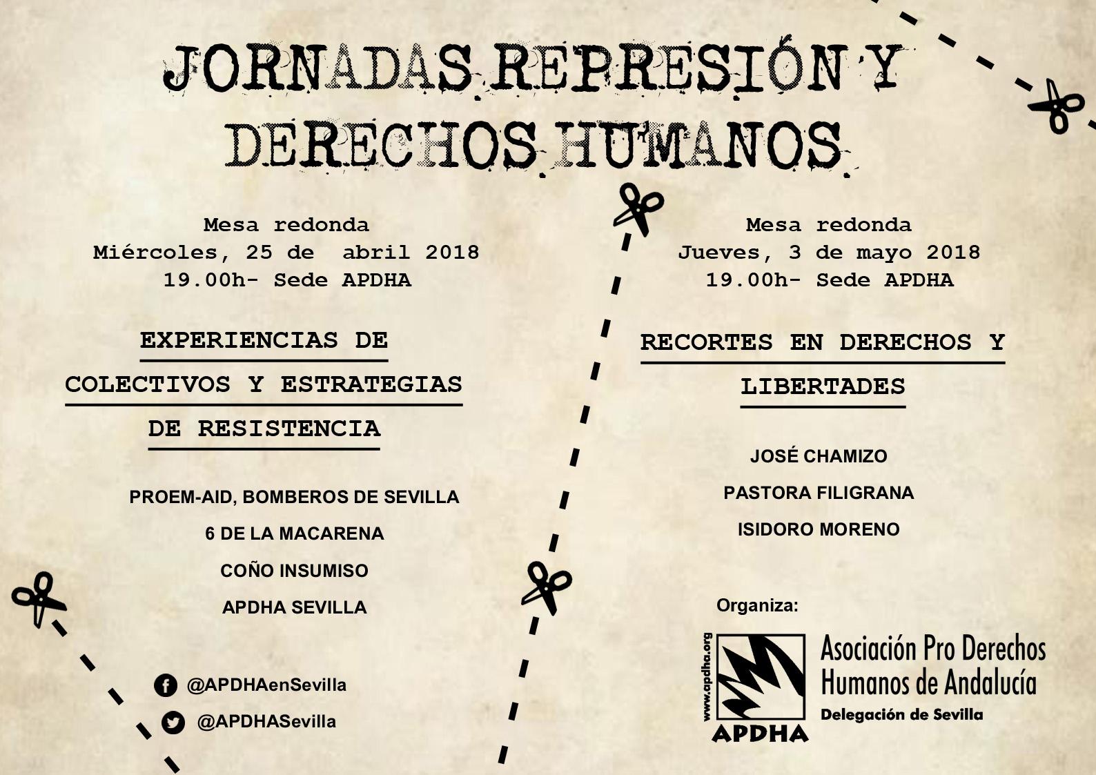 JORNADAS REPRESIÓN Y DERECHOS HUMANOS. Jueves 3 de Mayo.