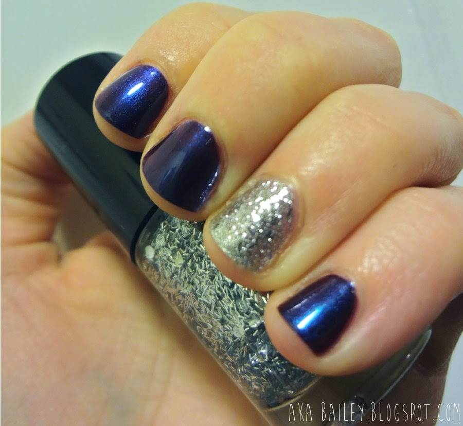 Holographic galaxy nails with silver glitter accents