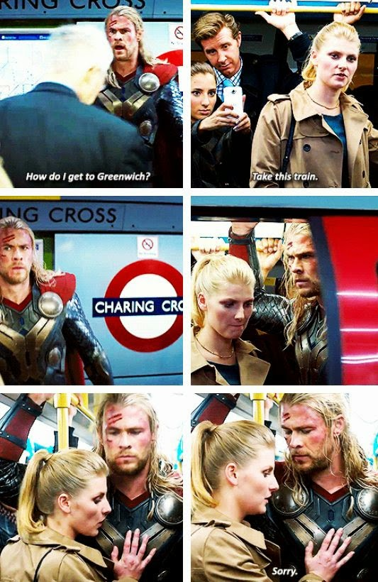 Thor wonders why the London Underground smells worse than the Asgardian Dungeons.