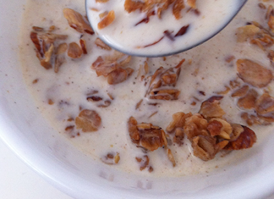 Almond granola in milk