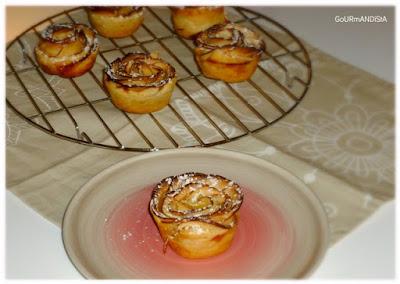 image Roses feuilletées aux pommes et caramel au beurre salé