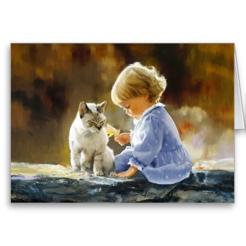 Sweet Girl, Autumn Leaf and Cat | Art Greeting Card