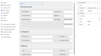 SharePoint design print form