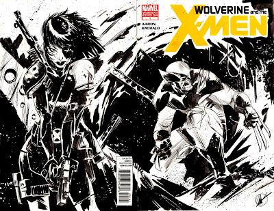Matteo Scalera, Domino, Wolverine, blank cover, Wolverine and the X-Men #1, Marvel, Sketch, commission