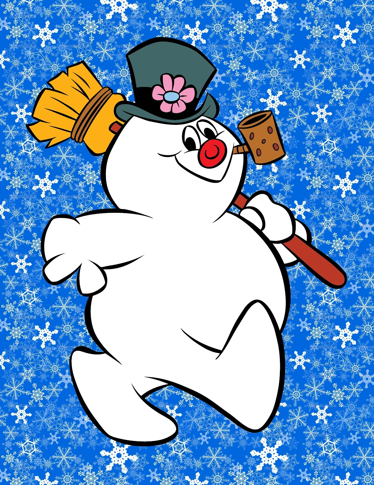 ... added this cool snowflake background to my FROSTY THE SNOWMAN art! 8