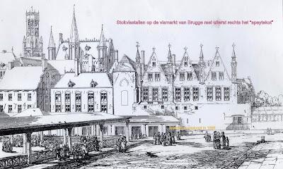 Vismarkt van Brugge met de stokvisstallen. Uiterst rechts was een speytekot, de voorloper van de brandweerkazerne.