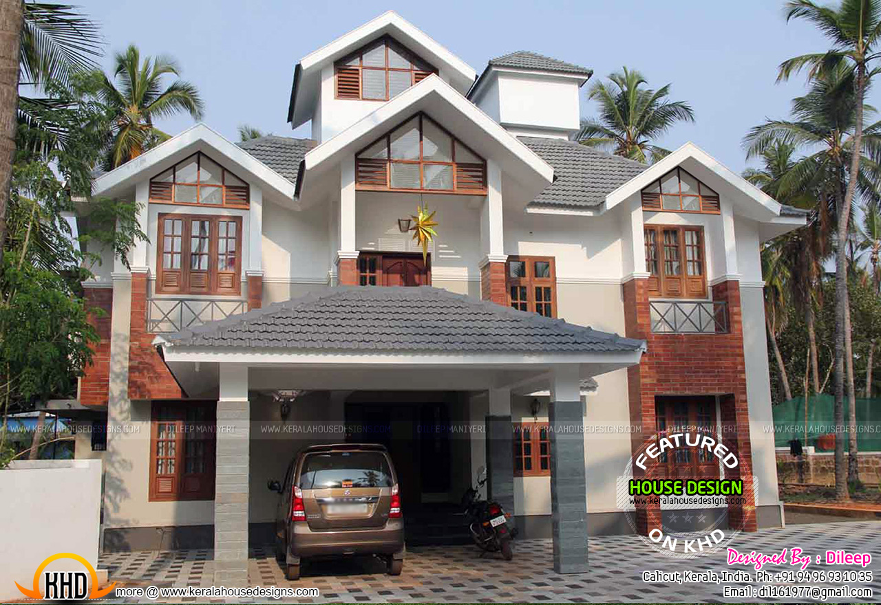 Sloping roof house in kerala kerala home design and for Kerala home roof designs