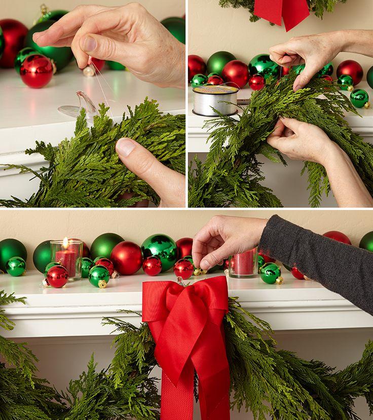 Hang christmas garland made of fresh fragrant real for Fresh garland on banister