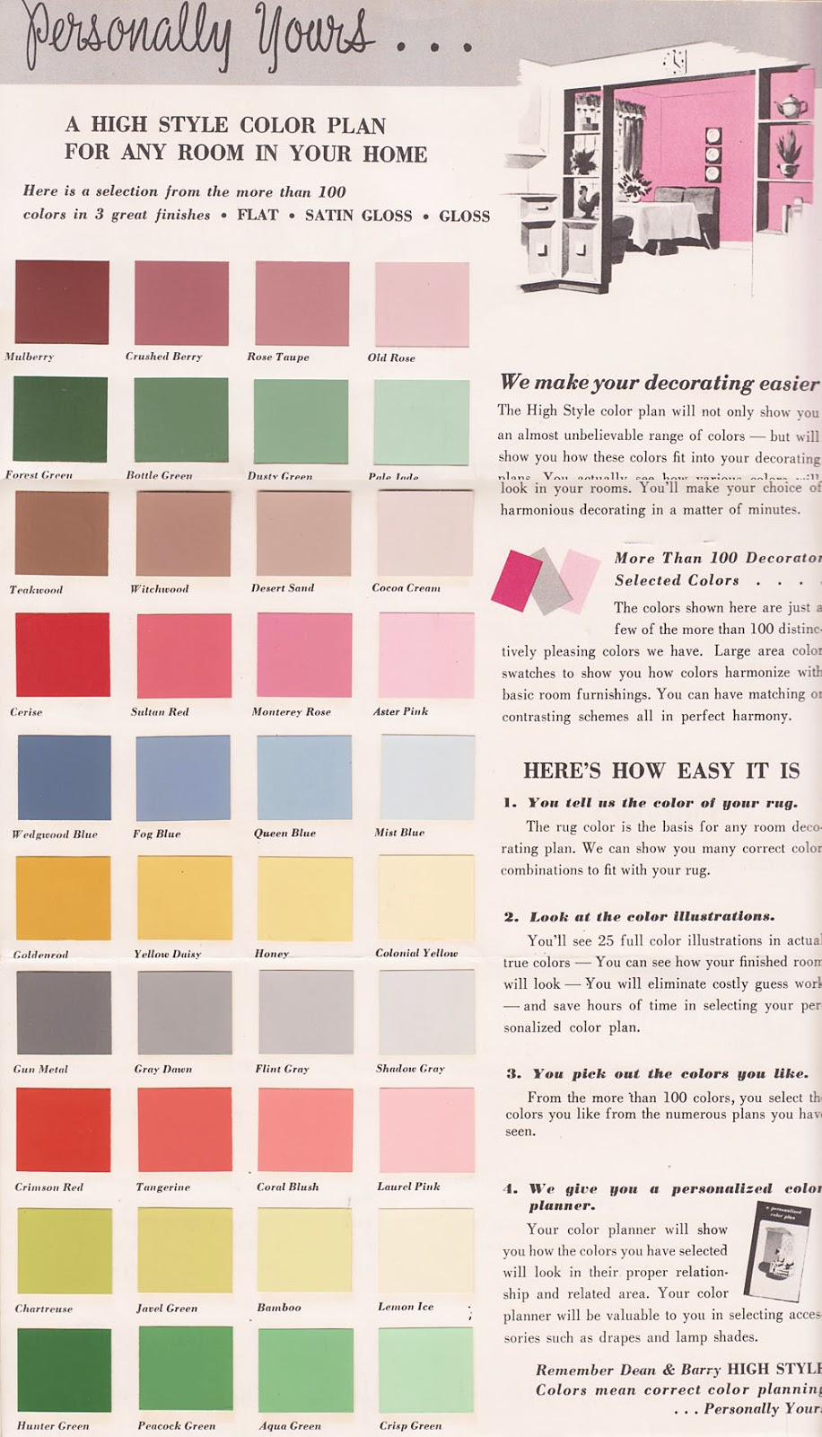 Vintage Decorating   1950u0027s Paint Color Chip Brochures