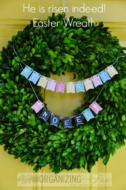 Easter Boxwood Wreath :: OrganizingMadeFun.com