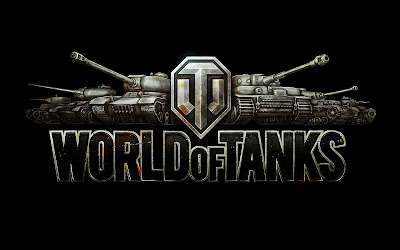 Four impressive looking tanks flanking the World of Tanks Logo.