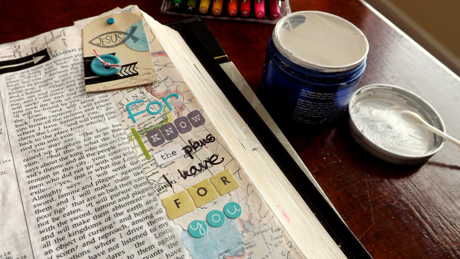 "Journaling Bible in Jeremiah 29:11, ""For I know the plans I have for you.""   With a handmade tag and torn map."