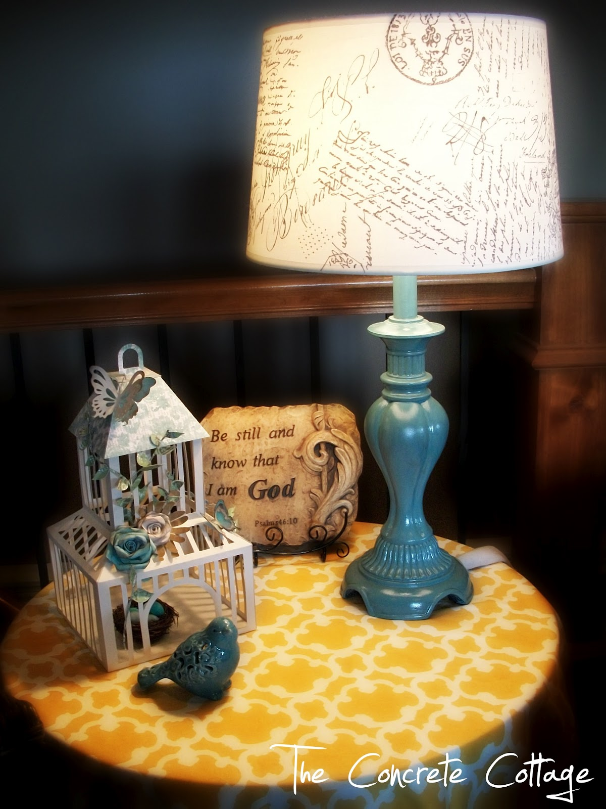 The concrete cottage diy french script lamp shade the first project was a neat little lamp shade aloadofball Gallery