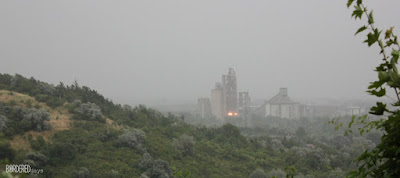 Landscape with the Vác DCM tower in a summer storm