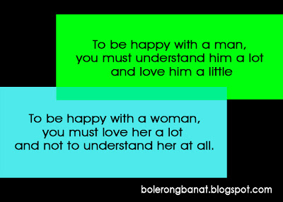 To be happy with a woman you must love her a lot  and not to understand her at all.