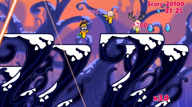 Three player co-op in video game Cloudberry Kingdom