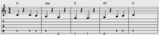 Tablatur over vampen i C med basløb, 2. variant med barré-F