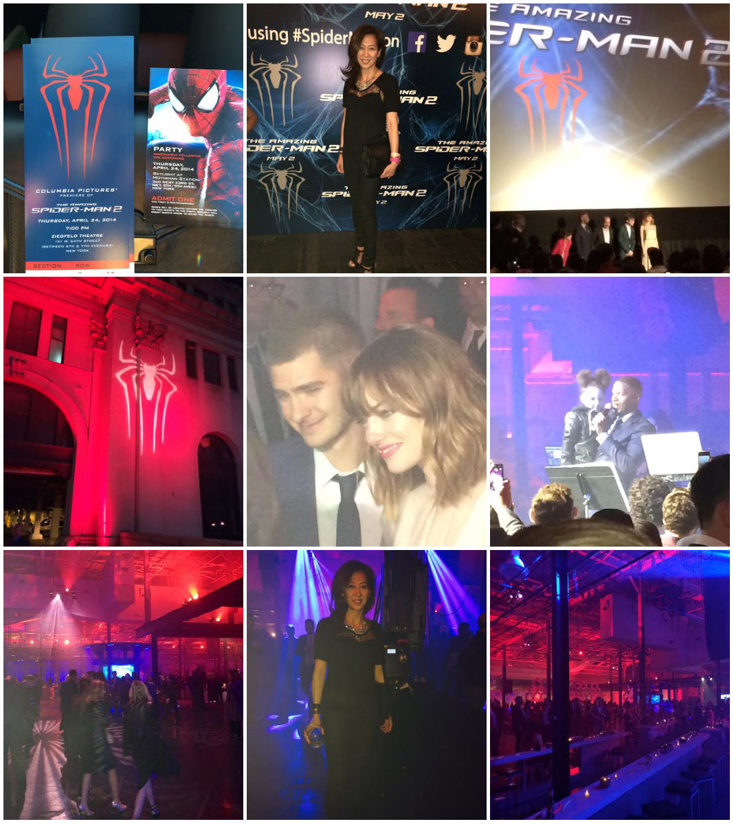 The Amazing SpiderMan 2 photo collage of movie premiere and after-party in Manhattan