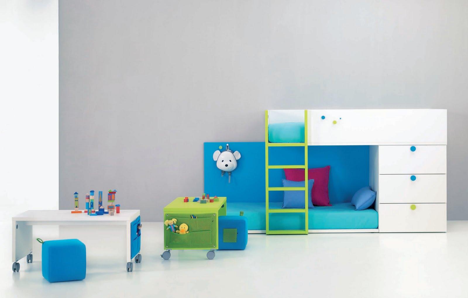 Cama tren con la cama de abajo a ras del suelo y modulo de - Muebles para habitaciones pequenas juveniles ...