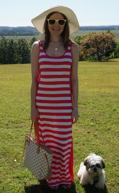Away From Blue Hinterlands NSW Stripe Maxi dress Louis Vuitton Damier Azur Neverfull