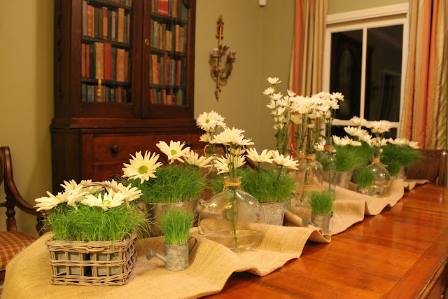 daisy and grass containers