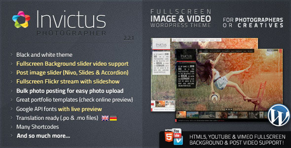 Invictus - Photographer Wordpress Theme Free Download by ThemeForest.