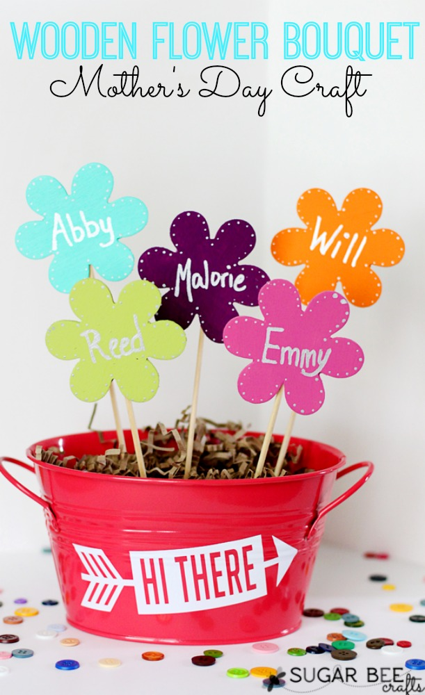 Mother's Day Craft - Wooden Flower Bouquet