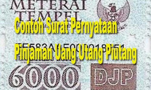 Contoh Surat Pernyataan Pinjaman Uang Utang Piutang Media