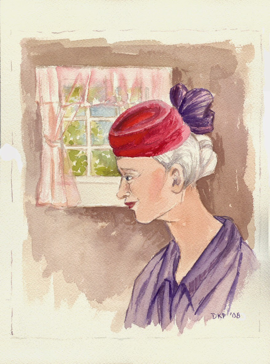 red hat lady art retro style 1950s 1960s