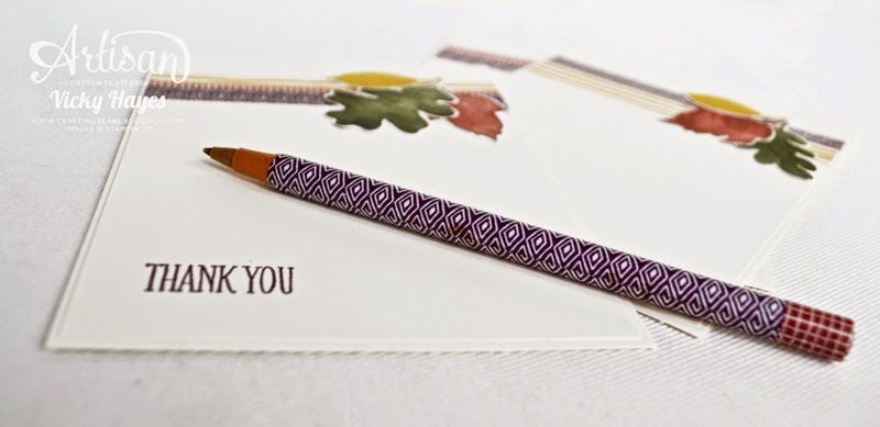Covering a pen with washi tape with UK Stampin'Up demonstrator Vicky Hayes