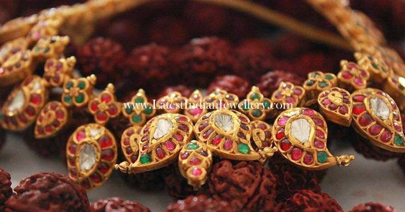 Traditional Rich Gold Mango Design Necklace
