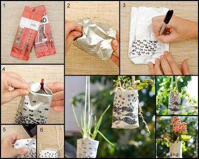 embalagem metálica, Vasos suspensos, reutilização, embalagens, Vila do Artesão, Vila do Artesão e Reciclagem, Jardinagem e Decoração, materiais reutilizáveis,