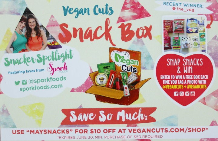Vegan Cuts Snack Box - May 2015 info card front