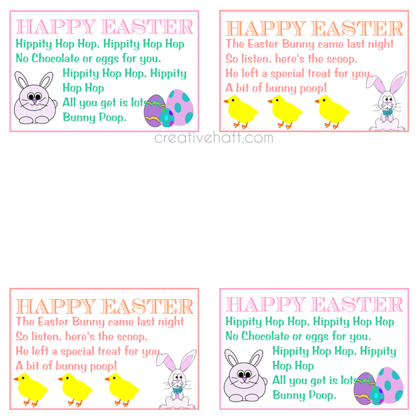 Creativehatt free easter printables gift tags and treasurer happy easter bunny poop gift tags free printables negle Image collections