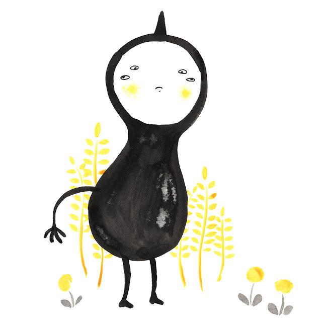Inktober: dibujo a tinta, monstruito cuatro ojos, dibujos de plantas
