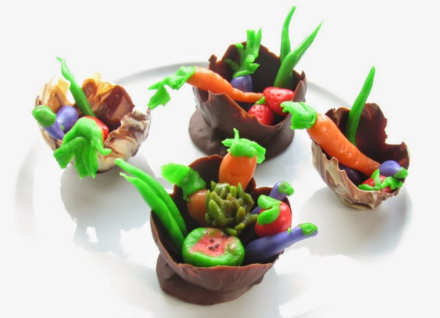 Chocolate Bowl Filled with Marzipan Vegetables and Fruits