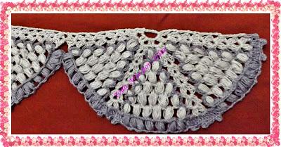 Modelo de barrados ou bico de crochê para pano de prato com motivo circular