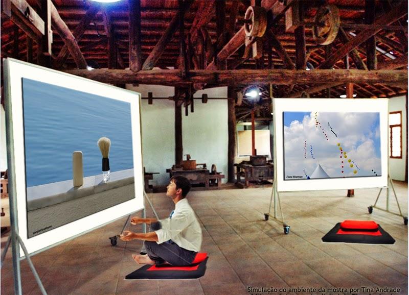 Composição gráica do ambiente da mostra por Tina Andrade com fotos de Margriet Boekhoorn e Fiona Wiseman