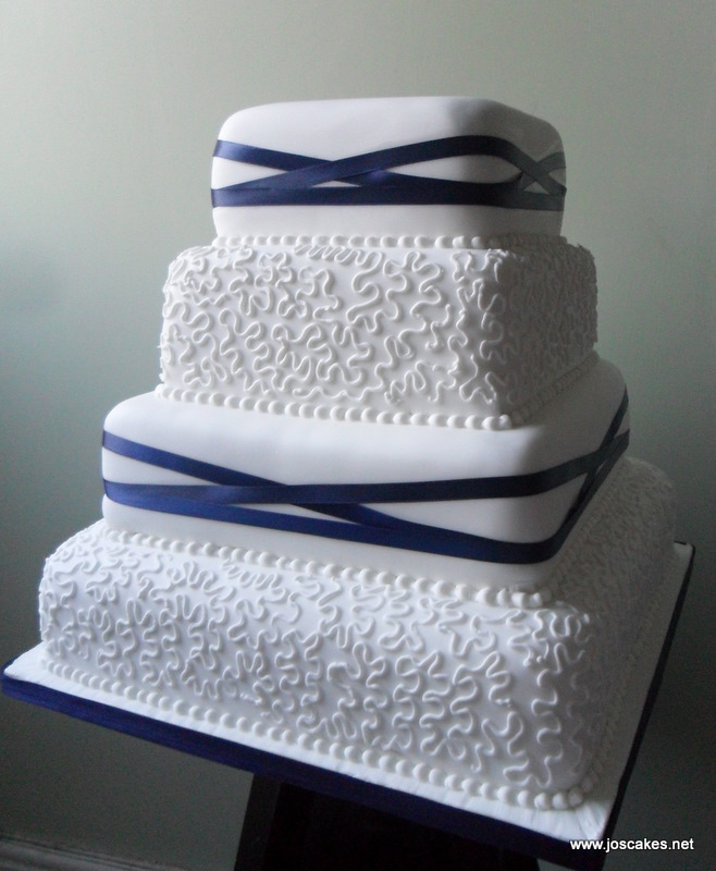 Jo\'s Cakes: Four Tier Lace and Ribbons Wedding Cake
