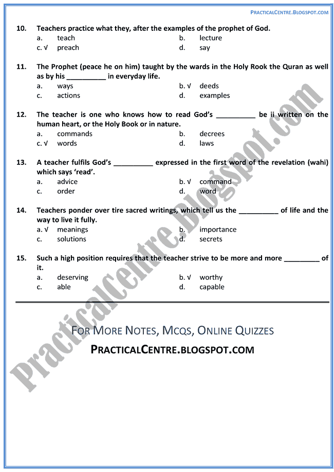 professions-mcqs-multiple-choice-questions-english-x